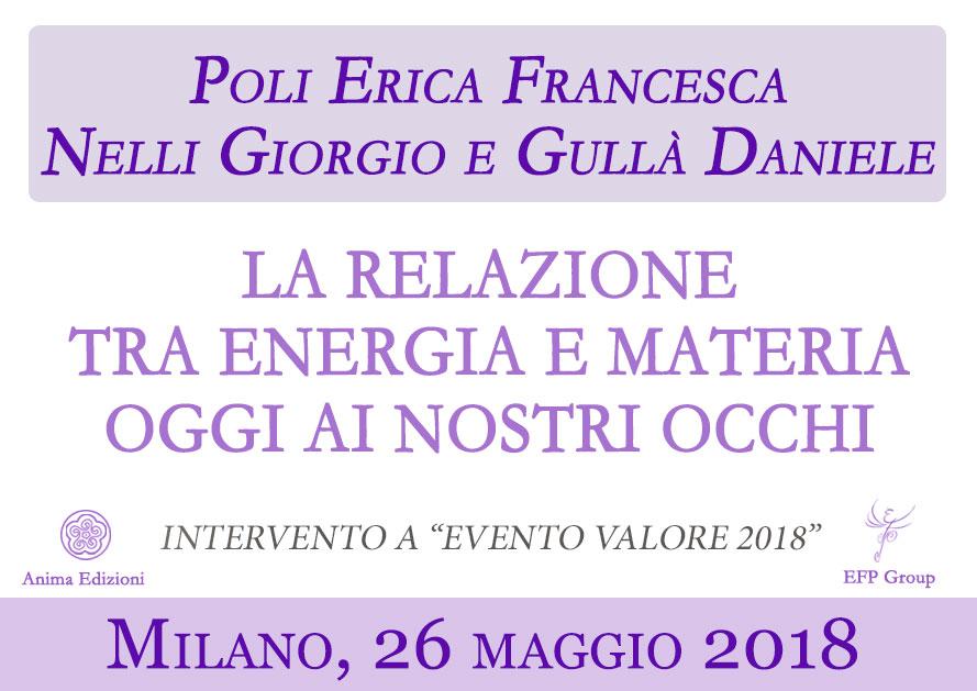 Intervento: La relazione tra energia e materia – Erica F. Poli, Giorgio Nelli, Daniele Gullà @ Milano – Viale Lombardia 74/76 (convegno Evento Valore 2018)
