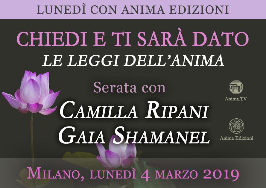 Serata: Chiedi e ti sarà dato – Camilla Ripani e Gaia Shamanel @ Anima Edizioni – Corso Vercelli, 56