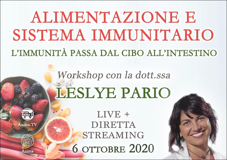 Workshop: Alimentazione e sistema immunitario con Leslye Pario (Live + Diretta streaming) @ Centro Anima – Corso Magenta, 83